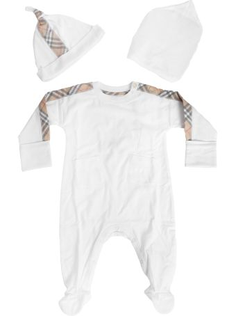 Burberry Kids House Check Detail Rompers And Cap Set