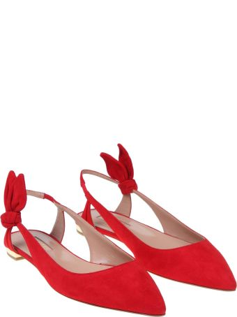 Aquazzura Ballerina Deneuve Ballet In Red Suede