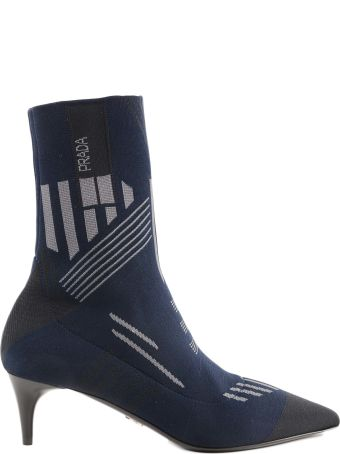 32006c1fe9be Prada Logo Knitted Sock Ankle Boots
