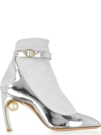 Nicholas Kirkwood Silver Laminated Leather And Fabric Lola Pearl Sock Pumps