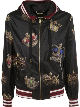 Dolce & Gabbana Crown Print Hooded Bomber