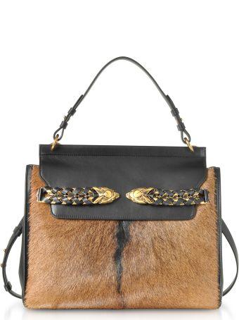 Roberto Cavalli Black Leather And Natural Pony Hair Satchel Bag