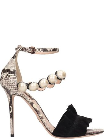 Paula Cademartori Multi-grey Leather Exotic Febe Sandals
