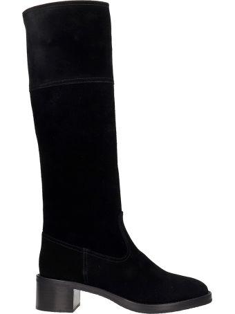 L'Autre Chose Low Heels Boots In Black Suede