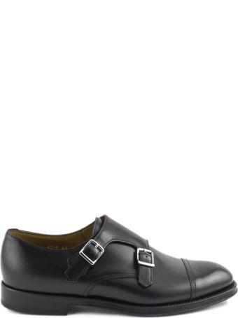 Doucal's Black Leather Monk Strap Shoes.