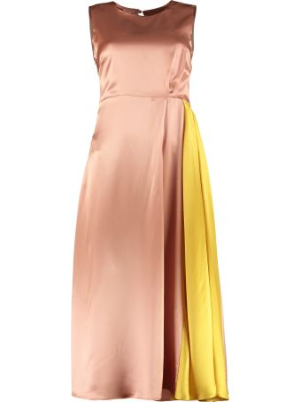 L'Autre Chose Satin Midi Dress