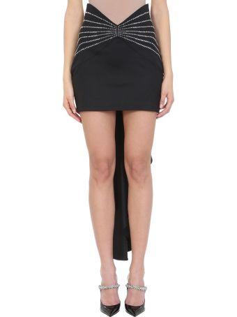 ATTICO Crystals Black Wool Skirt