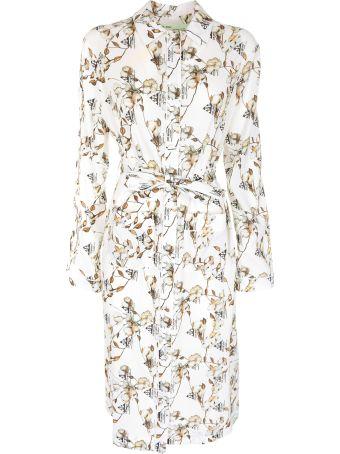 Off-White Floral Crepe Long Pajama Shirt
