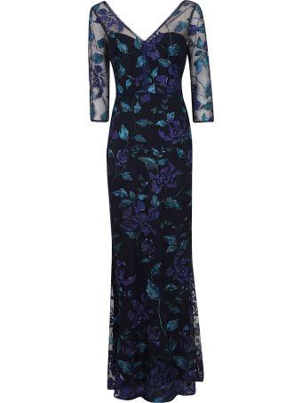 Marchesa 3/4 Sleeve Vneck Dress