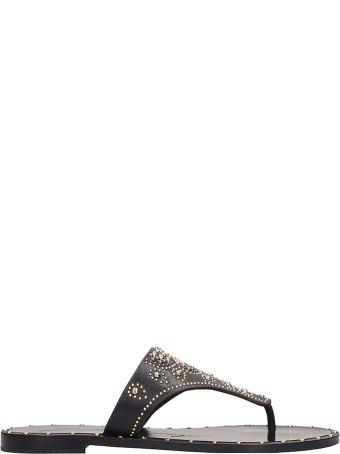 Lola Cruz Black Leather Flats Sandals