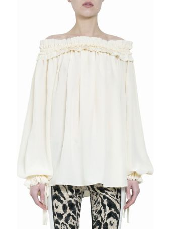Haider Ackermann Sapphirine Cream Off-the-shoulder Ruffled Blouse