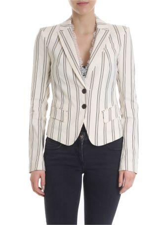 Patrizia Pepe Lace Insert Striped Jacket