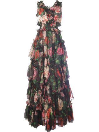 Dolce & Gabbana Rose Mix Silk Long Without Sleeves Ruches