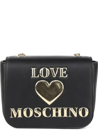Love Moschino Black Pvc Embossed Script Bag
