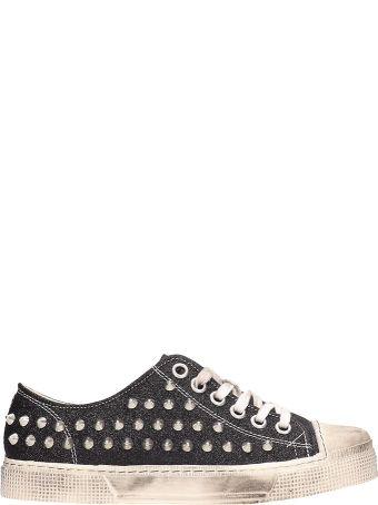 Gienchi Black Glitter Leather Jean Michel Sneakers