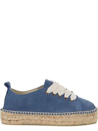 Manebi Manebí Hamptons Suede Blue And Jute Espadrilla Sneaker