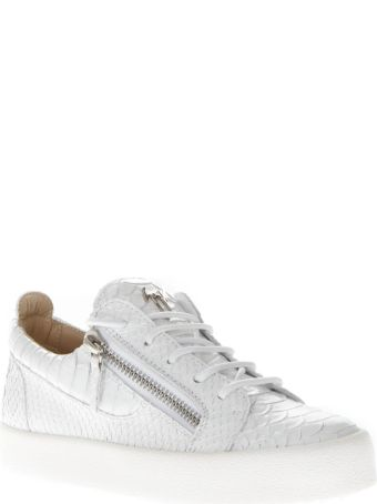 Giuseppe Zanotti Sneakers In White Cracked Effect Leather