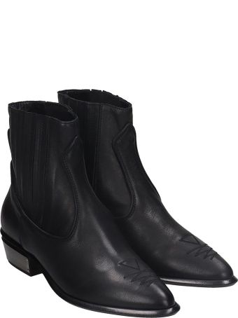 Kate Cate Cowboy Kate Low Heels Ankle Boots In Black Leather