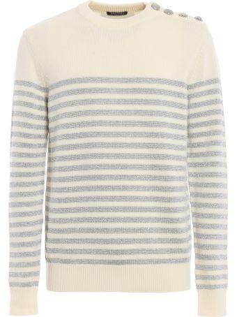 Balmain Striped Crewneck Sweater Rh13654k063oki