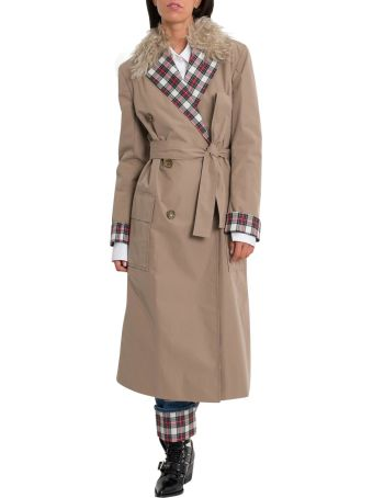 Isa Arfen Tartan Lapels, Lining And Cuffs Trench With Mongolia Neck