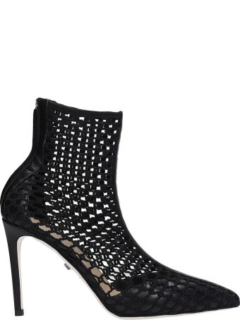 Grey Mer High Heels Ankle Boots In Black Suede And Leather