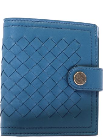 Bottega Veneta Woven Wallet Blue Leather