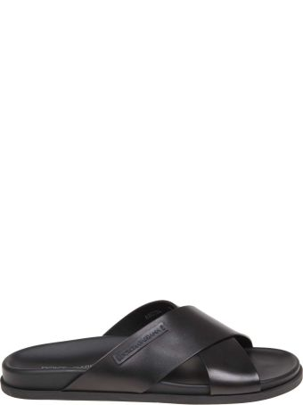 Dolce & Gabbana Hawaii Slippers In Black Color Leather