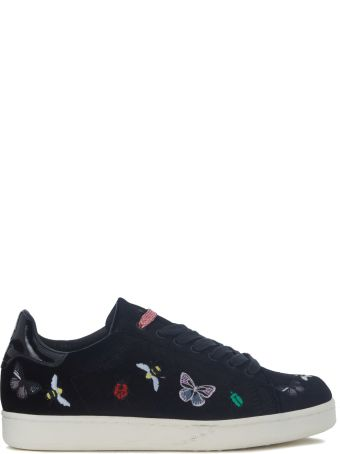 M.O.A. master of arts Moa Bugs Black Velvet Sneakers With Embroidery