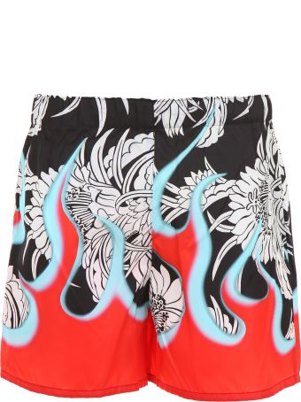 Prada Linea Rossa Hawaii Flame Shorts