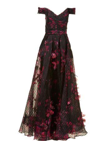 Marchesa Notte Floral Long Dress