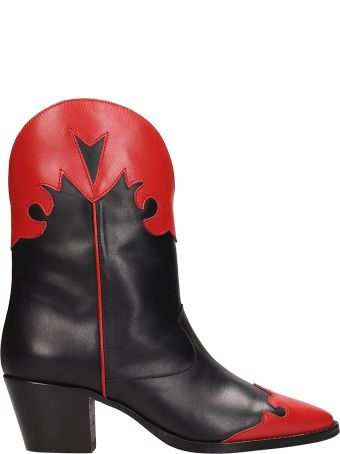 Paris Texas Tex Black Red Ankle Boots