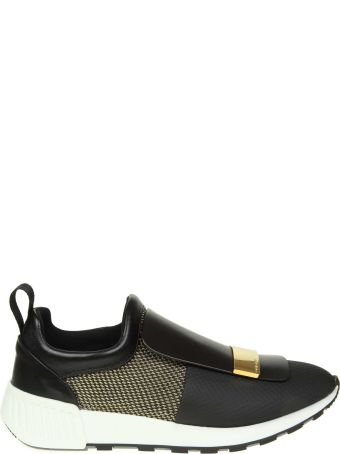 Sergio Rossi Sneakers In Leather And Fabric Color Black And Gold