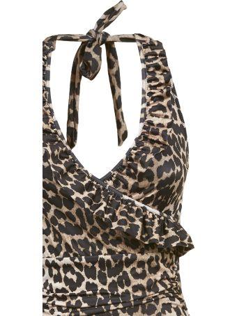 Ganni Leopard Print Swimsuit