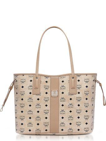 MCM Shopper Project Visetos Beige Medium Reversible Tote Bag