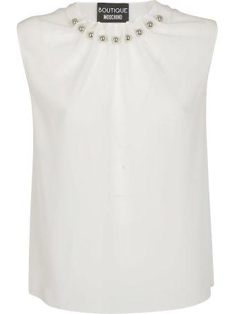 Boutique Moschino Beaded Collar Top