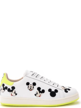 M.O.A. master of arts Moa Mickey Mouse White And Neon Yellow Leather Sneakers