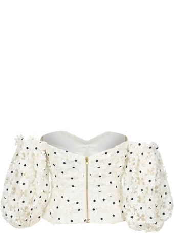 self-portrait Self Portrait Daisy Lace Puff Sleeved Top