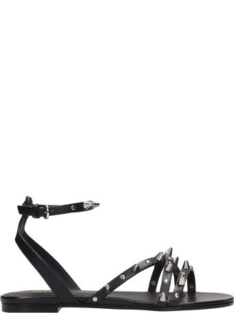 RED Valentino Black Leather Flat Sandals