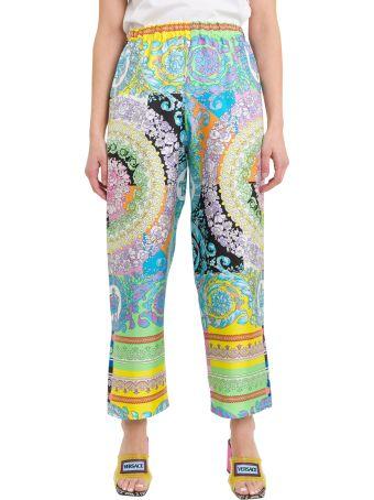 Versace Baroque Printed Wide-leg Silk Pants