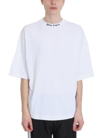 Palm Angels Logo Over White Cotton T-shirt