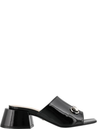 Gucci Medium Heel Paint Leather Slipper