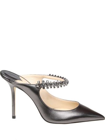 Jimmy Choo Decollete Bing 100 Anthracite With Crystal Strap