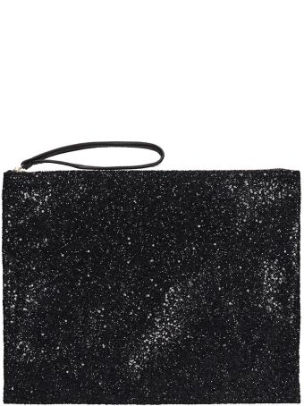 Anniel Big Clutch Black Glitter Pochette