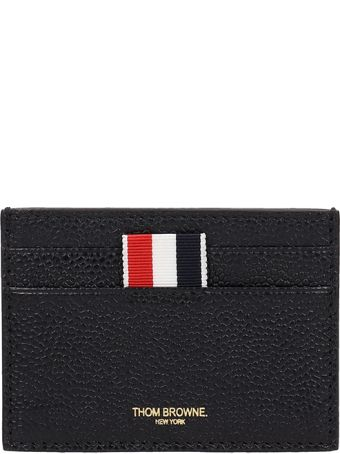 Thom Browne Black Leather Card Holder