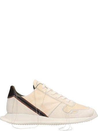 Rick Owens White Leather And Suede Vintage Runner Sneakers