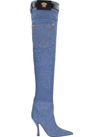 Versace Denim Thigh-high Boots