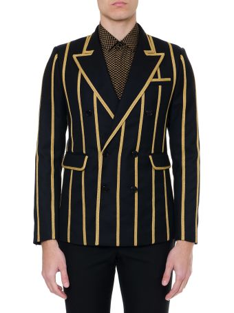 Saint Laurent Double Brasted Black Wool Jacket With Braiding