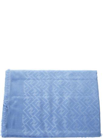 Fendi Azul Modal Logo Scarf