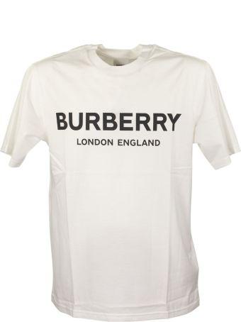 Burberry Logo Print Cotton T Shirt Letchford White