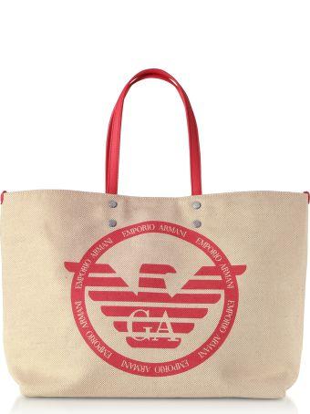 Emporio Armani Signature Canvas Medium Shopping Bag